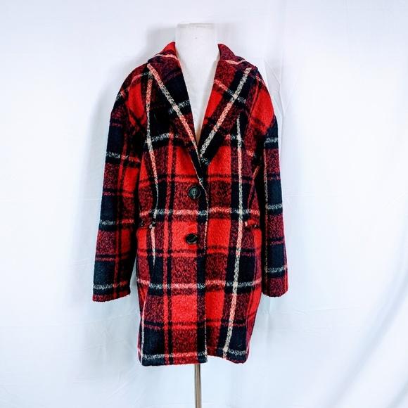 Hers & Mine Jackets & Blazers - Hers & Mine Plaid Oversized Peacoat